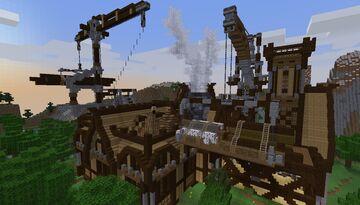 Medieval Theme Saw Mill (Universal Wood x Bone Meal Farm) - Build Idea - [World Download] Minecraft Map & Project