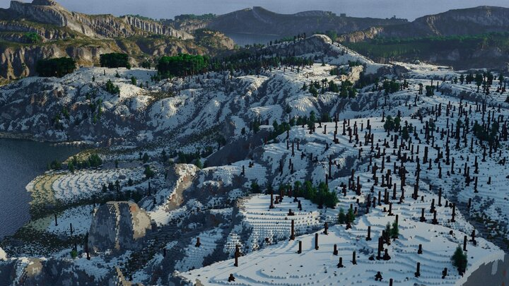 snow biome with a custome dead spruce forest