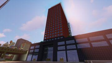 Modern Split Tower With Skybridge On Top: Oakwood City Minecraft Map & Project