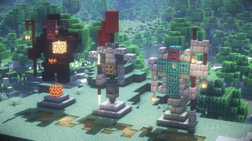Minecraft | 3 Statue Ideas | How to Build A Statue Tutorial Minecraft Map & Project