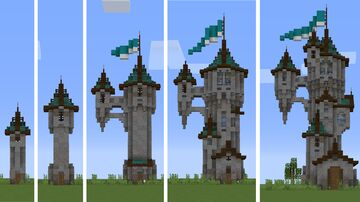5 towers same style, 5 different sizes. Minecraft Map & Project
