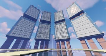 glass+stone modern apartment complex Minecraft Map & Project