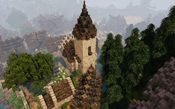 [1.14.3] Raven's Cliffs Medieval Town - Church District #weareconquest Minecraft Map & Project