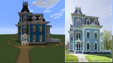 Blue Victorian / Second Empire house Minecraft Map & Project