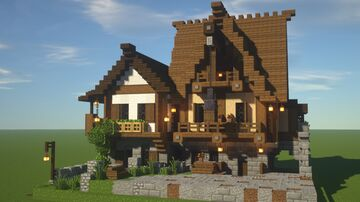 LMC Medieval - Houses with a Crane Minecraft Map & Project