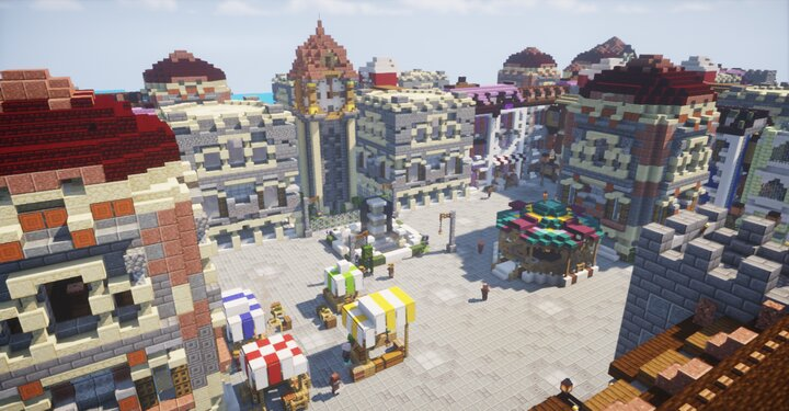 Main Square with fountain, market and working musical carousel