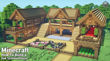 ⚒️ Minecraft : How To Build a Beginner large Oak Survival Base Minecraft Map & Project