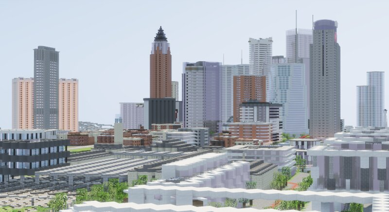 A sprawling Euro-style rail terminus in the foreground, a typical North American skyline in the background.