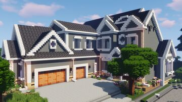 Large Suburban House Minecraft Map & Project