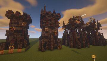Dark Ruins Towers Build Idea - [Catapult and Ballista] Minecraft Map & Project