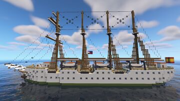Spanish training ship Juan Sebastián de Elcano Minecraft Map & Project