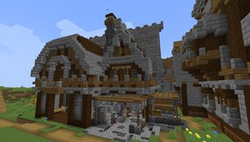 Medieval Themed Villager Trading Hall - Build Idea - [World Download] Minecraft Map & Project