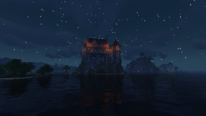 Back of the castle at night