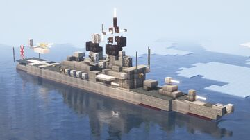 Japanese Destroyer JS Kurama (DDH-144) - 1:5 scale Minecraft Map & Project