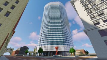 Modern Glass Skyscraper: Oakwood City Minecraft Map & Project