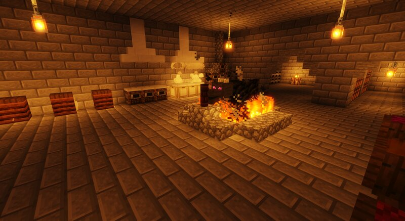 The kitchen with a roasting piece of dragon meat