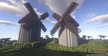 Minecraft replica of mills based on those of Consuegra, Campo de Criptana and Alcázar de San Juan. Minecraft Map & Project