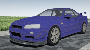 BUILD - NISSAN SKYLINE GTR R-34   Created from small blocks   Chisels and bits - MOD Minecraft Map & Project