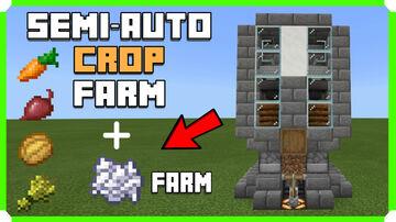 How To Build A Semi Automatic Crop Farm + Bone Meal Farm Minecraft Map & Project