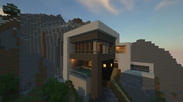 Modern Mountain House / Cliffside Modern House Minecraft Map & Project