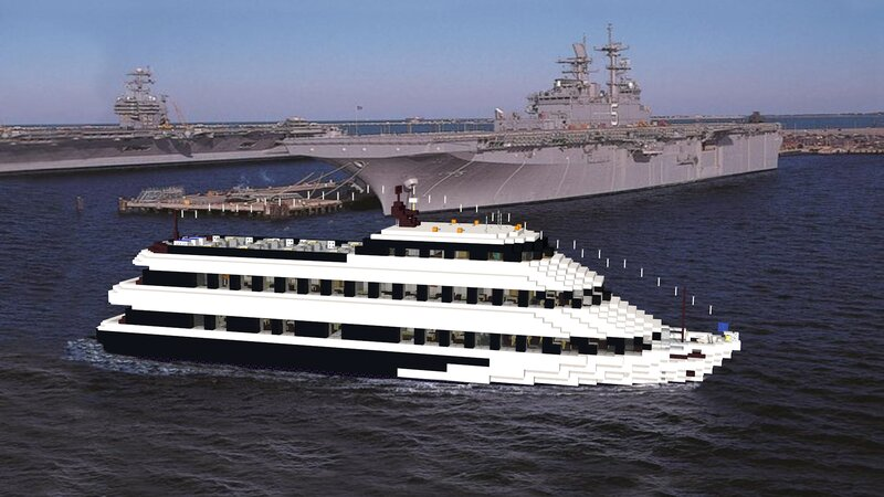 Spirit of Norfolk passing by the Aircraft Carriers of the local Shipyard