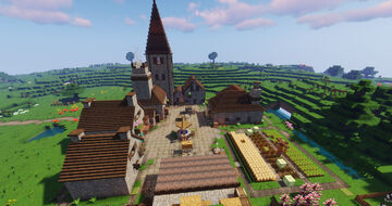 Medieval Farmhouses and Courtyard (Chirk World) Minecraft Map & Project