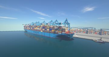 APM TERMINAL 2 ROTTAERDAM AND CONTAINER SHIP MAERSK TRIPLE-E Minecraft Map & Project