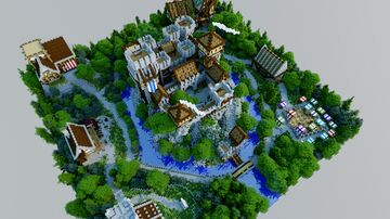 Skyblock Castle and Town Map [180x180] fully finished interiors and hidden caves Minecraft Map & Project