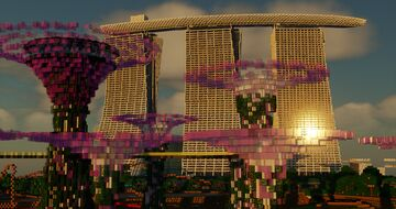 Marina Bay Sands Hotel located in Singapore Minecraft Map & Project