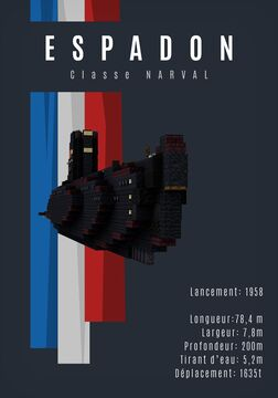 Narval Class french submarine Espadon - [1:1] Minecraft Map & Project