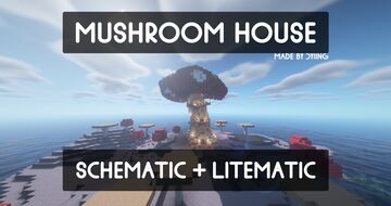 Mushroom House Schematic + Litematic | Fully Furnished Minecraft Map & Project