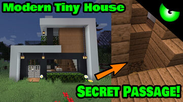 Modern Tiny House with Secret Passageway! - House Tour UpcomingVillain Minecraft Map & Project