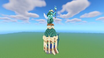 Trident Shop - Mermaid Statue on top of Tower Minecraft Map & Project