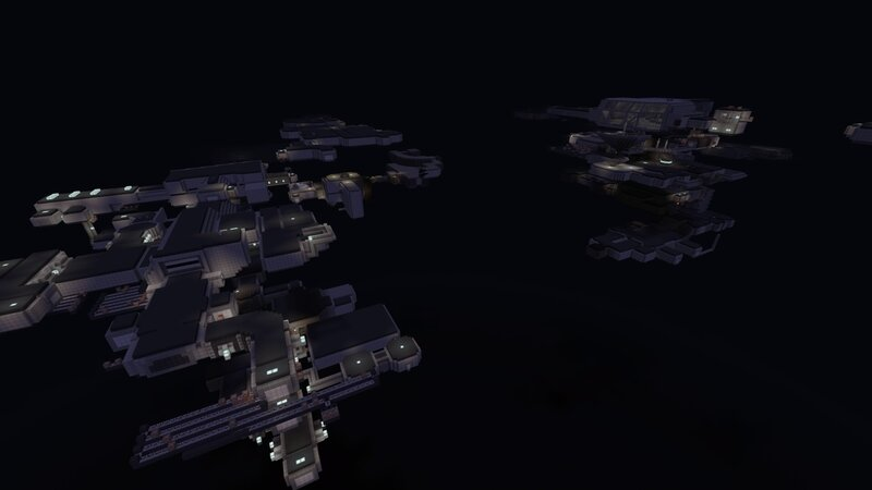 Outside view of Spaceflight Terminal, Freight Shipping, Habitation Decks, Upper Transit, Station Maintenace Lower, and the Lorenz Systech Spire on the right Largest section in the map, consists of Transit, comms, server farm, lorenz lobby, sattelite maint