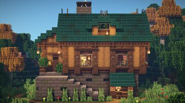 Minecraft : How to build a Mediveal House Minecraft Map & Project