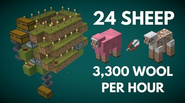 Tiny Turbo-Charged Wool Farm   3,000+ Wool Per Hour -- Only 5x7x5 Blocks Minecraft Map & Project