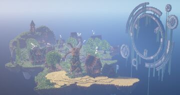 Medieval Sky Island Spawn! Includes Market, Crates, Portal, and more! Minecraft Map & Project