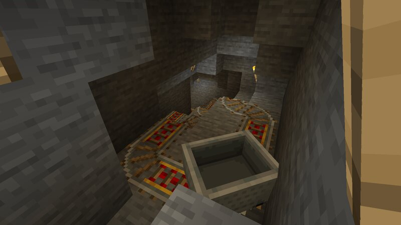 Ride the empty minecart down to the mine.