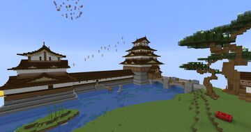 My try to build a japanese castle [inspired by Hiroshima castle] Download included Minecraft Map & Project