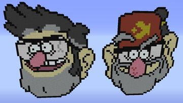 Ford and Stan Pines Pixel Art Minecraft Map & Project