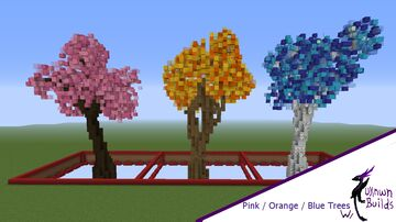 Colored Trees: Pink/Orange/Blue - UnknwnBuilds Minecraft Map & Project