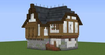 White Tudor Starter House Minecraft Map & Project