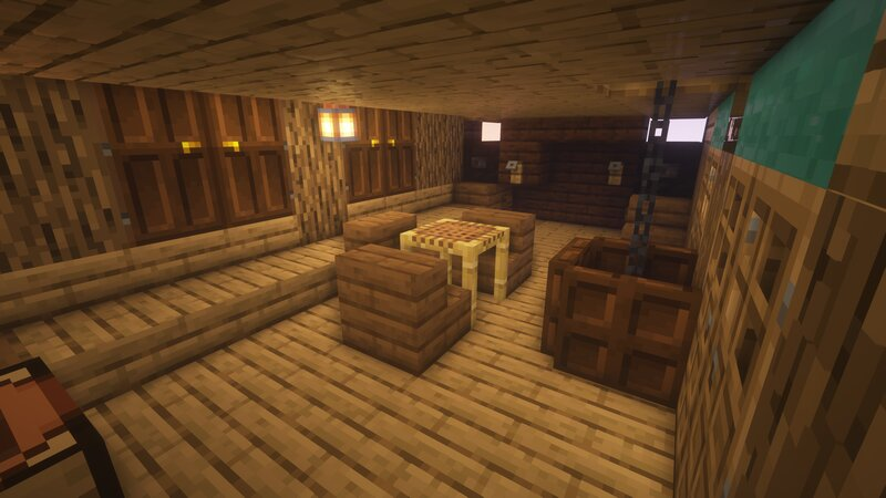 The Captain's personal dining area features room for guests!