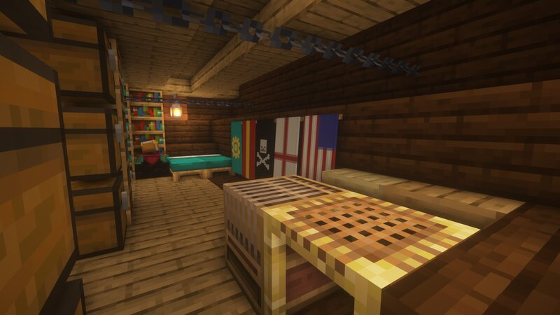 """The lower Captain's Quarters come equipped with several """"false colors"""" for fooling yer prey, as well as a loom for crafting more, and even a personal enchanting table!"""