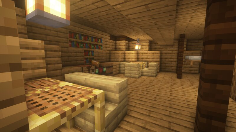 The Crew's Quarters come with a communal crafting table, storage barrel, and enchantment table!