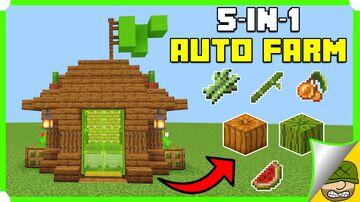 5-In-1 Auto Farm In your Minecraft Bedrock 1.18 (MCPE/Xbox/PS4/Switch/Windows10) Minecraft Map & Project