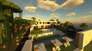 Modern Mansion 3 - Super Modern Mansion / Modern House Minecraft Map & Project
