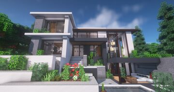 Realistic Modern House (Download + Tutorial) Minecraft Map & Project