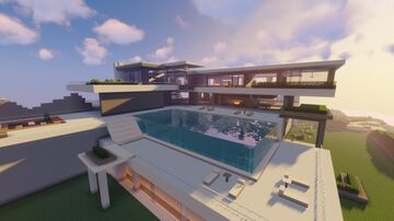 Cool Modern Mansion / Big Modern House Minecraft Map & Project