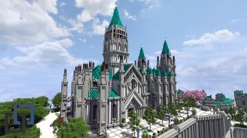 GENSHIN IMPACT Mondstadt Favonius Cathedral - New Fantasy city project   AC Minecraft Map & Project